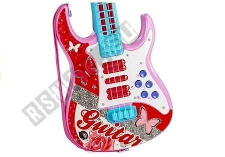 Electric Guitar With Microphone Strings Toy Pink