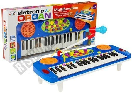 Keyboard Organ with Microphone On Stand Blue