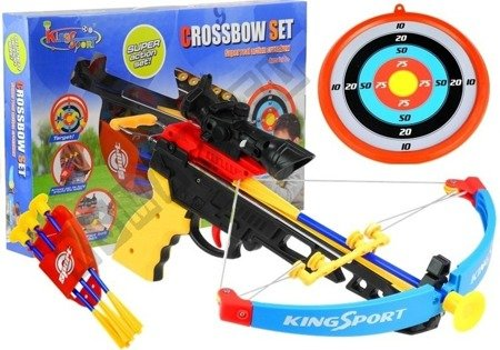 Sporty Crossbow for children with a shield and a quiver for arrows.