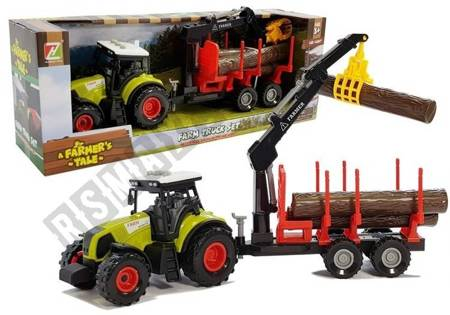 Tractor and forest trailer with wood
