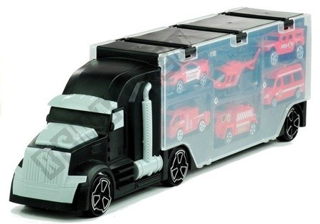 Transport Truck with 6 cars Case Black