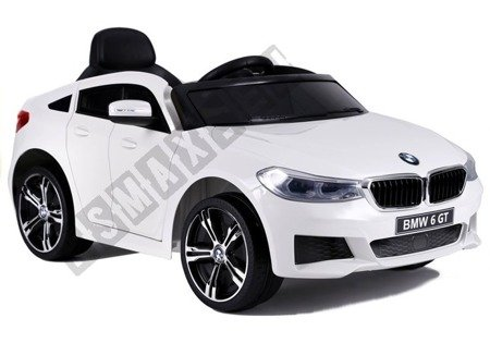 Kinderauto BMW 6 GT Weiß Ledersitz EVA-Reifen LED Frontscheinwerfer 2x12V