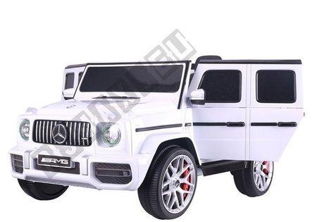Kinderfahrzeug Mercedes G63 Weiß Ledersitz EVA-Reifen LED Frontscheinwerfer Auto