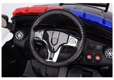 Kinderfahrzeug Polizei Schwarz EVA-Reifen Ledersitz USB SD MP3 Kinderauto