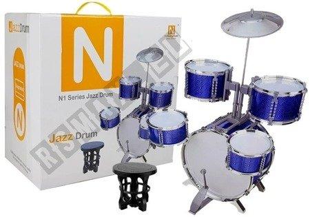 Duża Perkusja z Krzesłem 5 Bębnów Talerz Niebieska