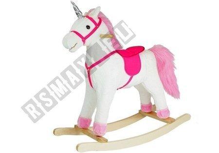 Koń Na Biegunach Jednorożec Biały Dźwięki 75 CM Rusza Pyskiem Ogonem