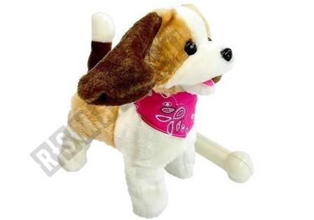 Pluszowy Pies na smyczy Sterowany na pilota Kość