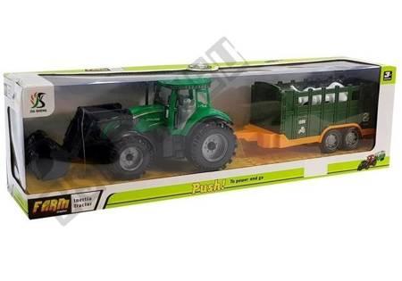 Traktor z Przyczepką Zielony Krowa