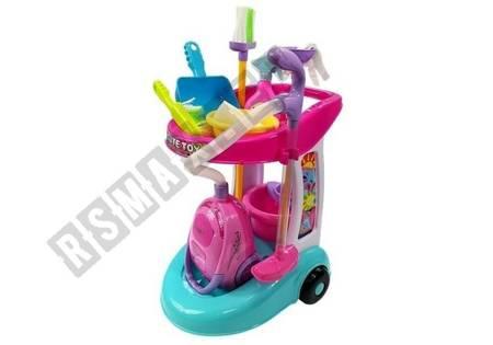 Zestaw Do Sprzątania Na Wózku Odkurzacz Różowy